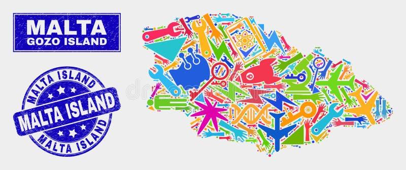 Carte d'île de Gozo de technologie de mosaïque et joint grunge de timbre d'île de Malte illustration stock