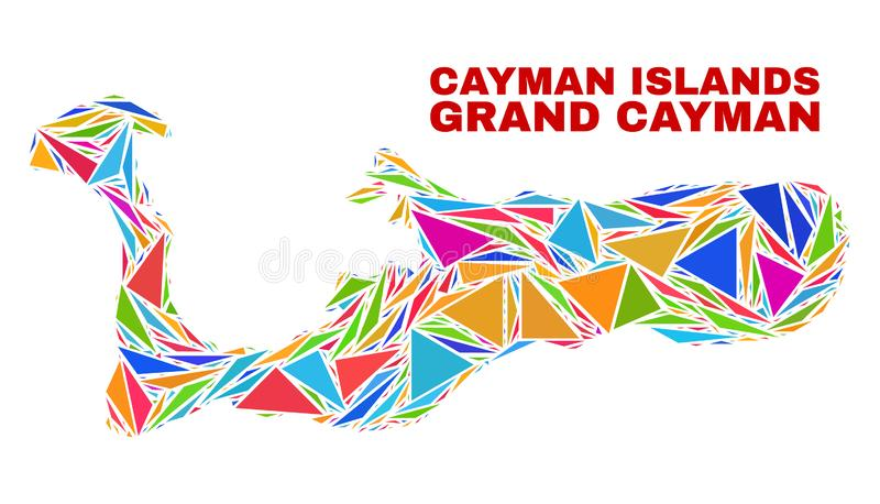 Carte d'île de Grand Cayman - mosaïque des triangles de couleur illustration de vecteur
