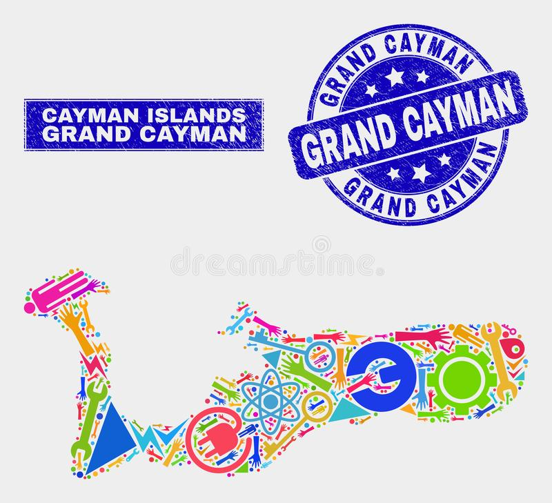 Carte d'île de Grand Cayman d'outils de collage et joint de timbre de Grand Cayman de détresse illustration de vecteur