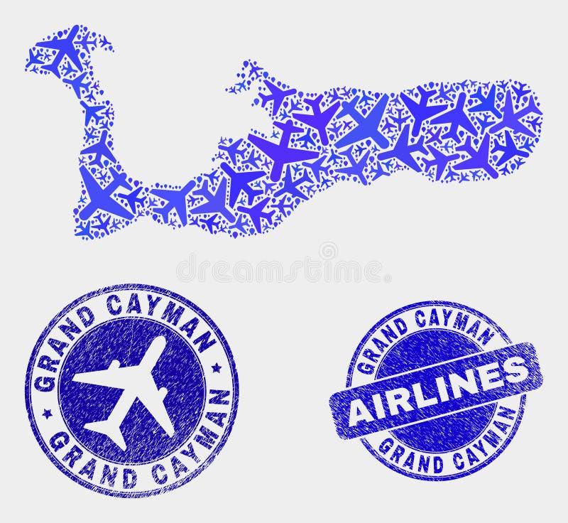 Carte d'île de Grand Cayman de vecteur de collage d'avion et timbres grunges illustration stock