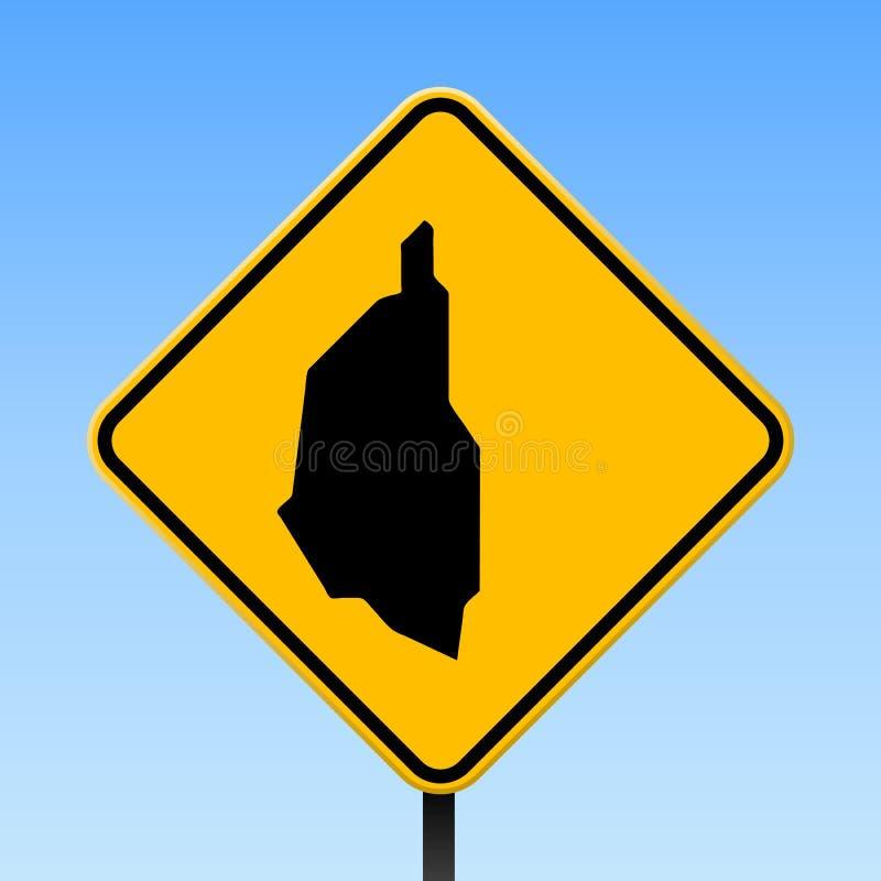 Carte d'île de Kapas sur le panneau routier illustration de vecteur