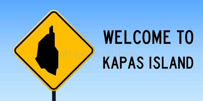 Carte d'île de Kapas sur le panneau routier illustration stock