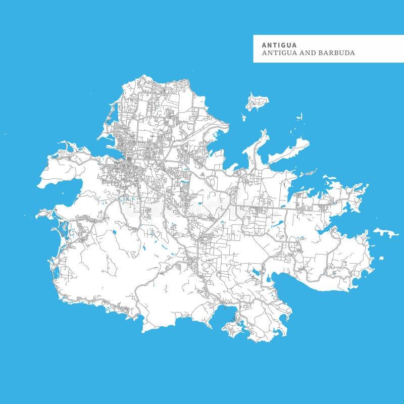 Carte d'île de l'Antigua illustration stock