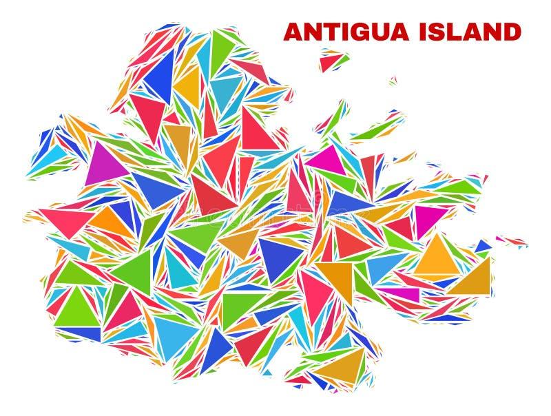 Carte d'île de l'Antigua - mosaïque des triangles de couleur illustration de vecteur