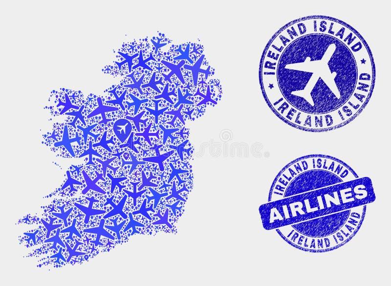 Carte d'île de l'Irlande de vecteur de collage d'avion d'air et joints grunges illustration stock