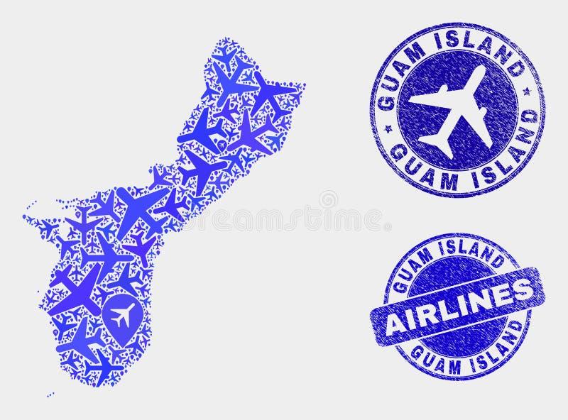 Carte d'île de la Guam de vecteur de collage de lignes aériennes et joints grunges illustration stock
