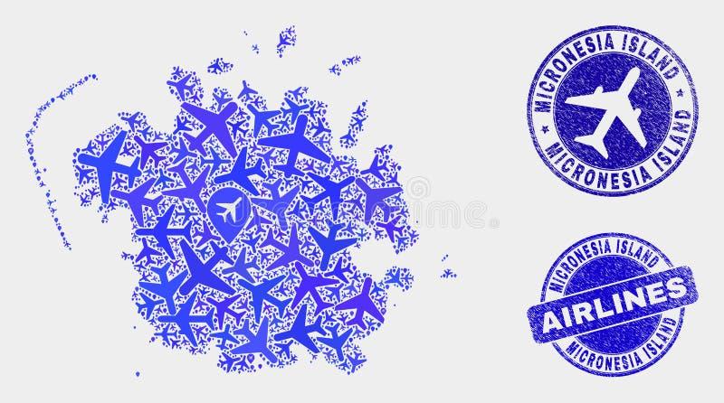 Carte d'île de la Micronésie de vecteur de mosaïque d'aviation et timbres grunges illustration stock