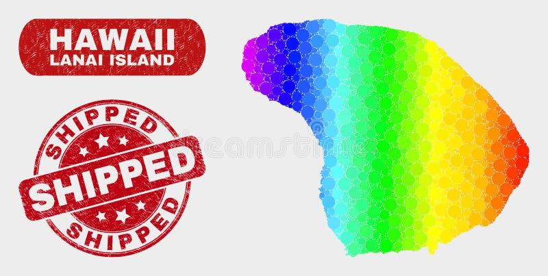 Carte d'île de Lanai de mosaïque de spectre et affliger le filigrane embarqué illustration stock