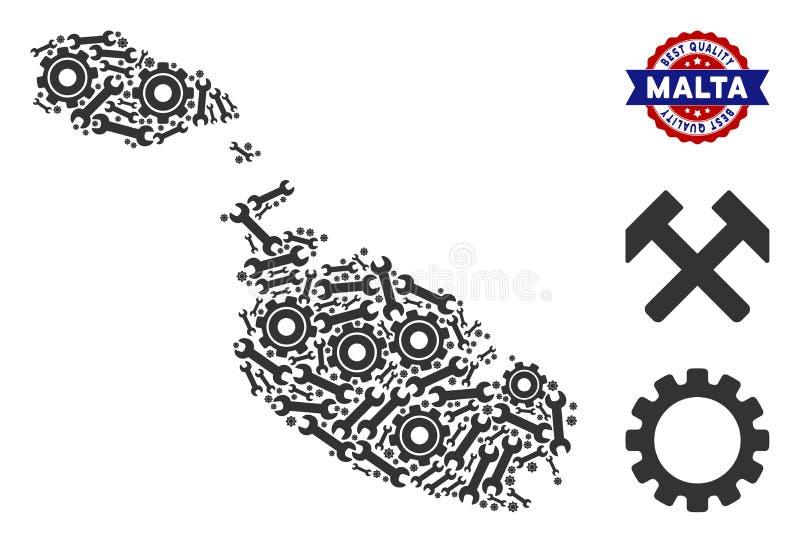 Carte d'île de Malte de mosaïque des outils industriels illustration libre de droits