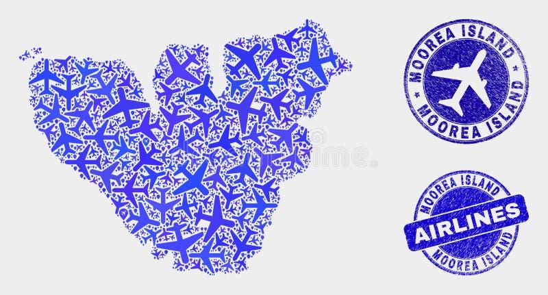 Carte d'île de Moorea de vecteur de composition en ligne aérienne et timbres grunges illustration de vecteur
