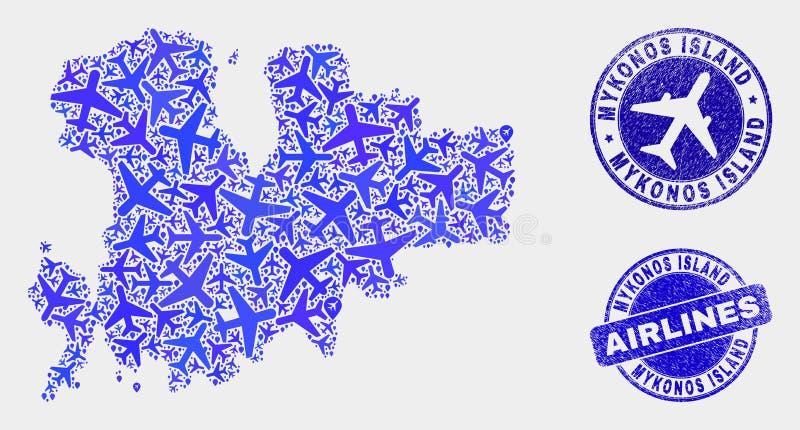 Carte d'île de Mykonos de vecteur de mosaïque de lignes aériennes et joints grunges illustration de vecteur