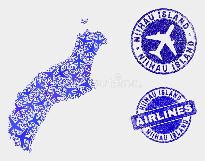 Carte d'île de Niihau de vecteur de composition en lignes aériennes et timbres grunges illustration stock