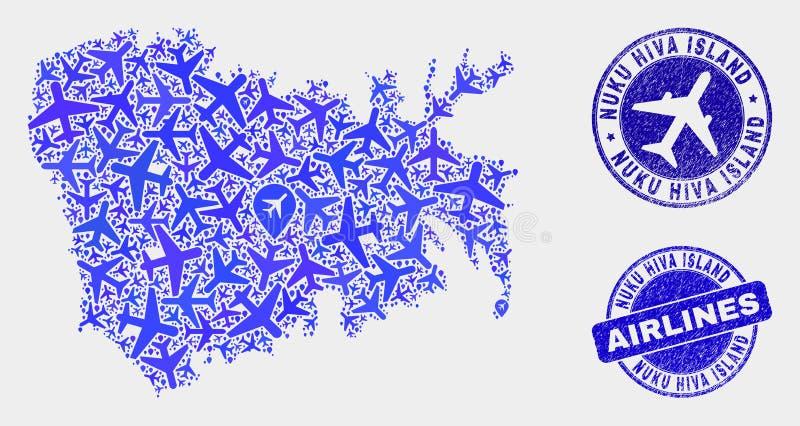 Carte d'île de Nuku Hiva de vecteur de collage de lignes aériennes et joints grunges illustration libre de droits