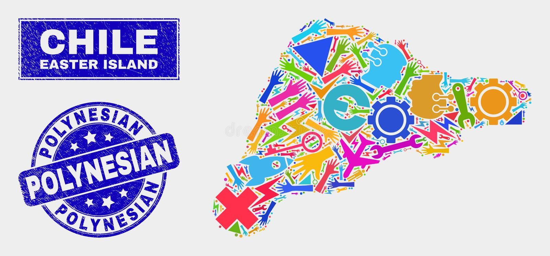 Carte d'île de Pâques d'outils de collage et joint polynésien grunge de timbre illustration de vecteur