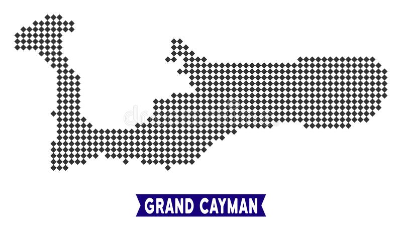 Carte d'île de Pixelated Grand Cayman illustration de vecteur
