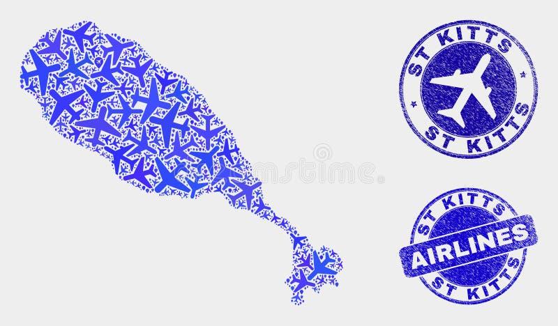 Carte d'île de St Kitts de vecteur de mosaïque de ligne aérienne et joints grunges illustration de vecteur