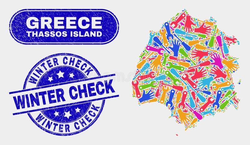 Carte d'île de Thassos de productivité et joints rayés de timbre de contrôle d'hiver illustration stock