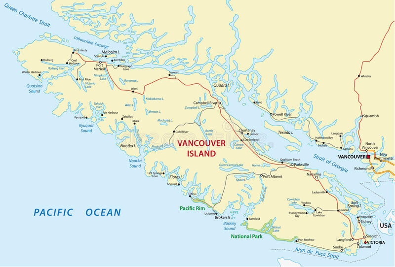 Carte d'île de Vancouver illustration stock