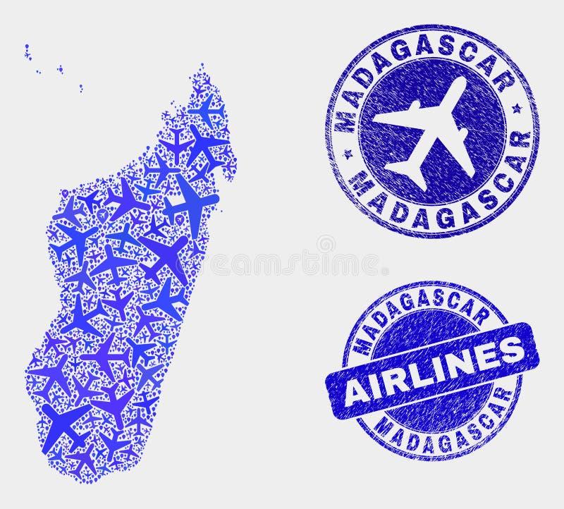Carte d'île du Madagascar de vecteur de mosaïque d'avion et joints grunges illustration de vecteur