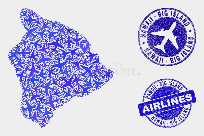 Carte d'île d'Hawaï de vecteur de collage d'avion grande et joints grunges illustration libre de droits
