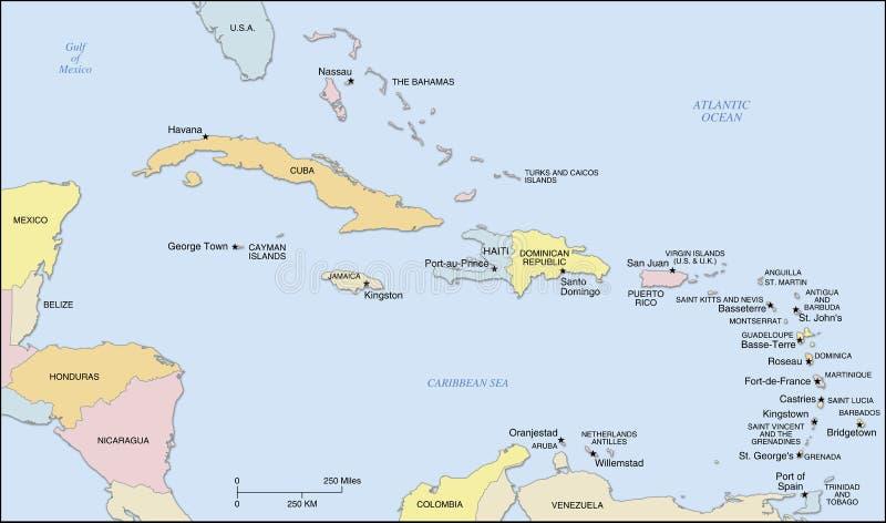 Carte d'îles des Caraïbes illustration libre de droits
