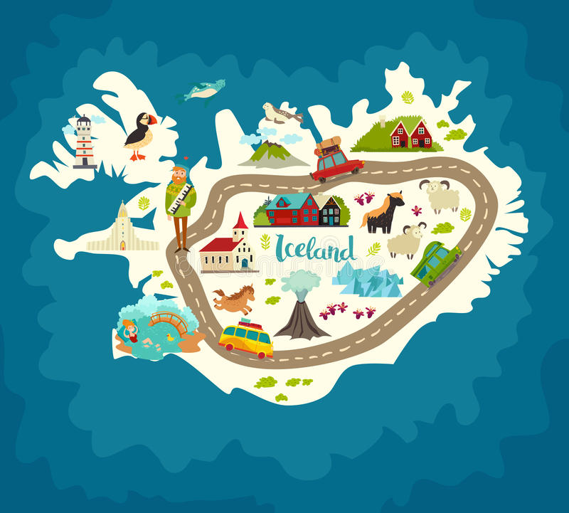 Carte d'abrégé sur de l'Islande, illustration tirée par la main de vecteur illustration stock