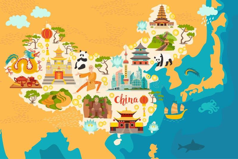 Carte d'abrégé sur de la Chine, illustration tirée par la main