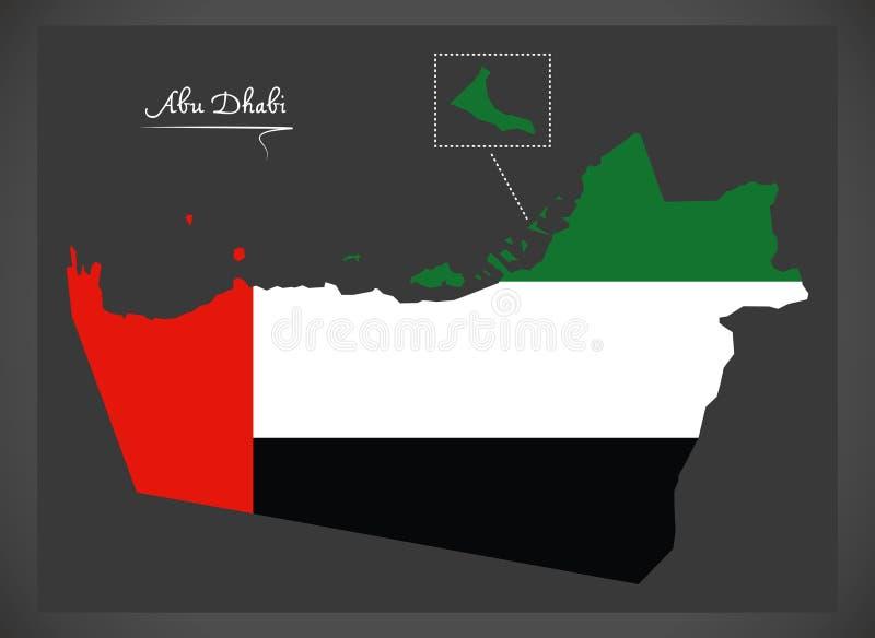 Carte d'Abu Dhabi des Emirats Arabes Unis avec la défectuosité de drapeau national illustration libre de droits