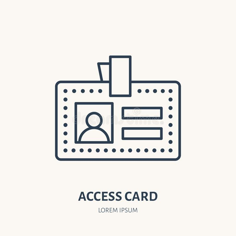 Carte d'accès des employés, ligne plate icône de vecteur d'identité Document d'identification, signe d'insigne illustration stock