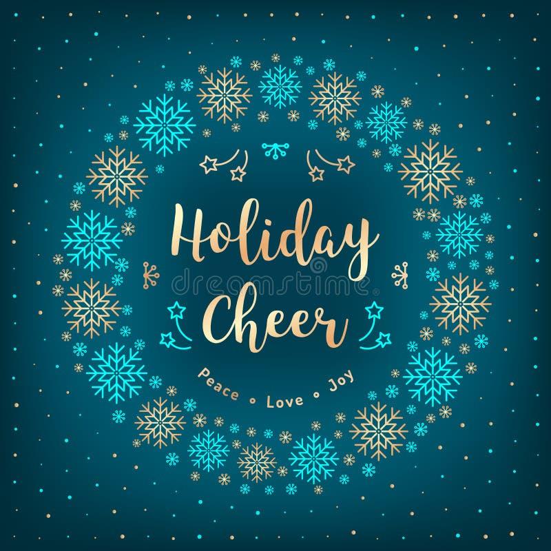 Carte d'acclamation de vacances de Noël Guirlande de Noël, flocons de neige, lettrage, fond d'hiver illustration stock