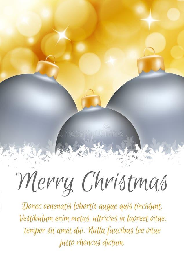 Carte d'affiche de boule de Noël illustration libre de droits