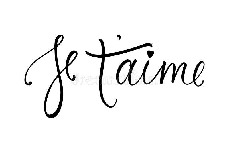 Carte d'aime de ` de Je t Je t'aime en français Calligraphie moderne de brosse image stock