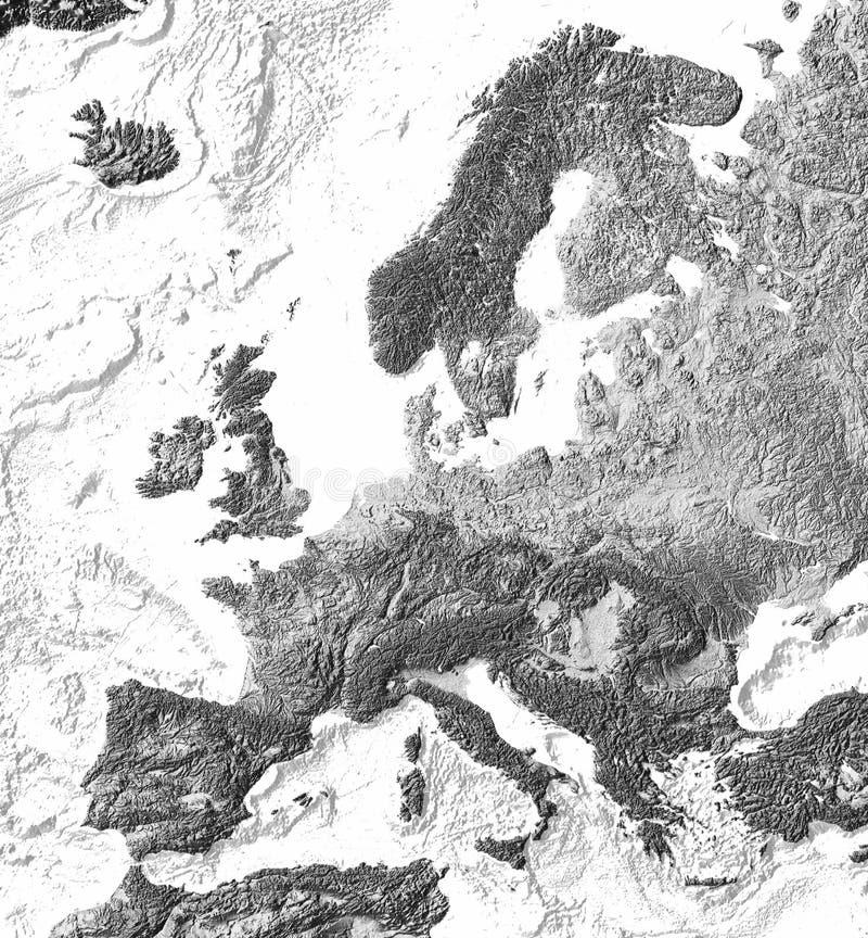 Carte d'allégement ombragée grise de l'Europe illustration libre de droits