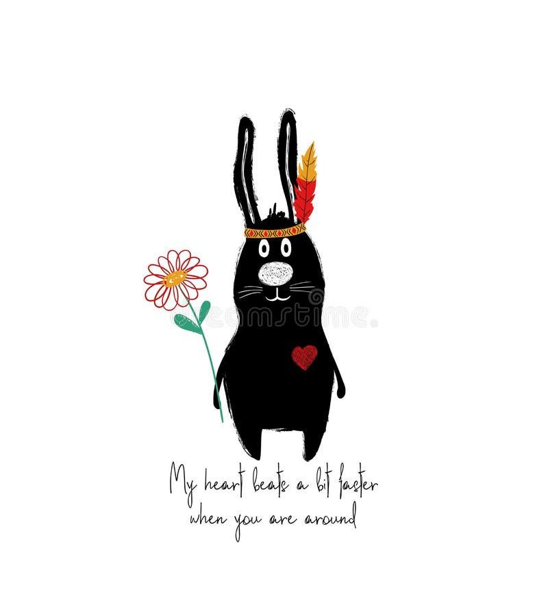 Carte d'amour avec le lapin mignon illustration libre de droits