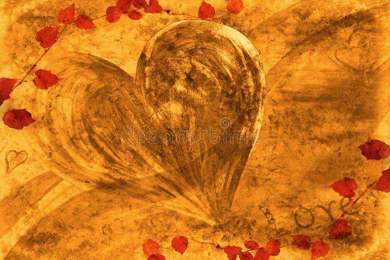 Carte d'amour d'automne illustration libre de droits