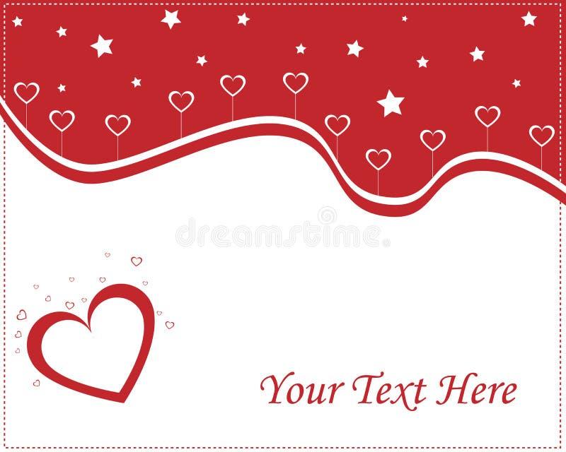 Carte d'amour de coeurs - rouge et blanc illustration stock