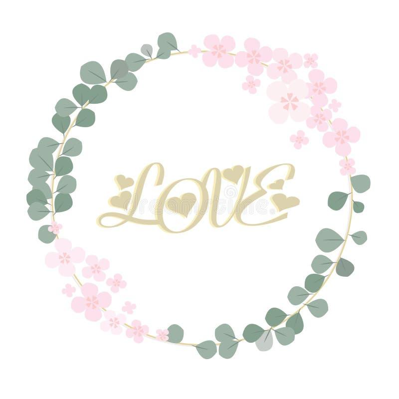 Carte d'amour Feuilles vertes et guirlande rose de fleurs d'isolement sur le fond blanc illustration de vecteur