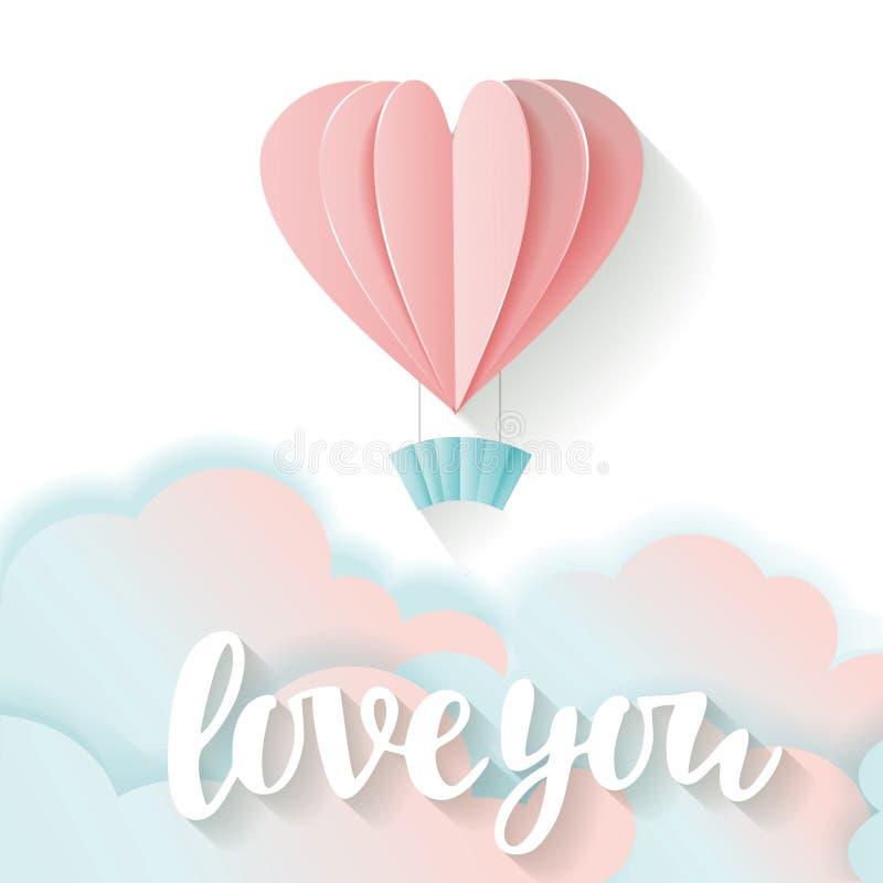 Carte d'amour pour le jour du ` s de Valentine Amour de lettrage vous rose du vol 3D et coeur de papier bleu et nuages illustration stock