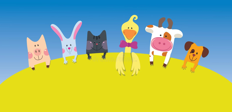 Carte d'animaux de ferme de dessin animé illustration stock