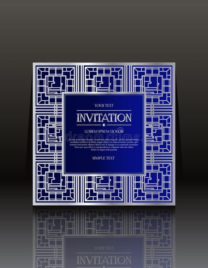 Carte d'annata blu dell'invito con l'ornamento immagini stock libere da diritti