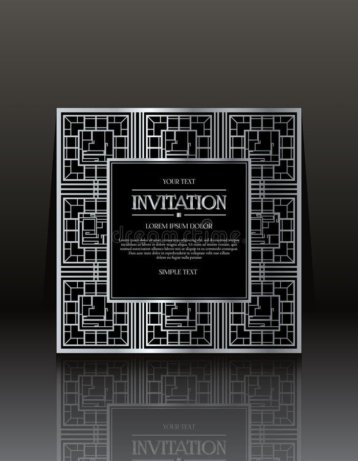 Carte d'annata nere dell'invito con l'ornamento immagine stock