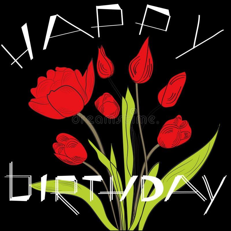 Carte d'anniversaire avec des tulipes illustration libre de droits