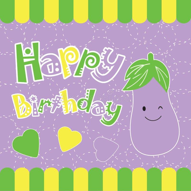 Carte d'anniversaire avec la bande dessinée mignonne d'aubergine sur le cadre jaune et vert illustration libre de droits