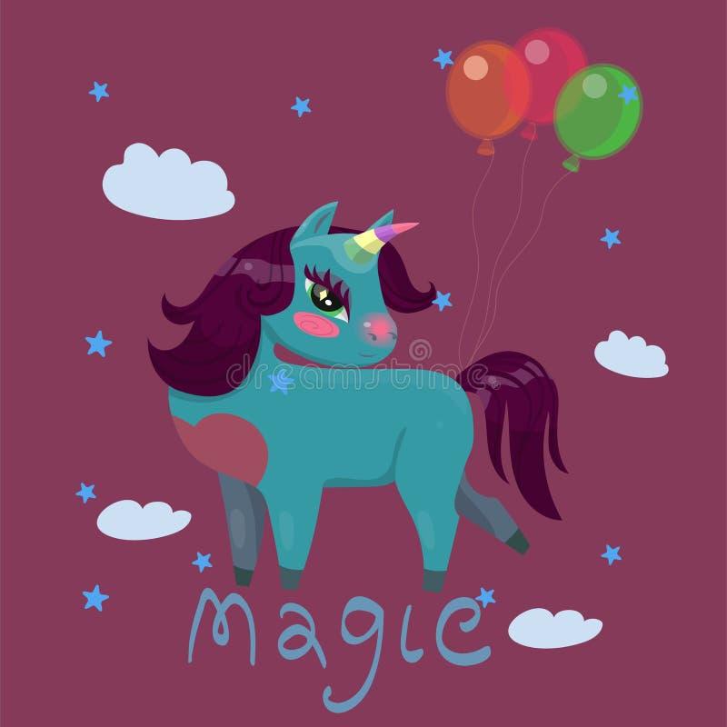 Carte d'anniversaire avec la licorne avec l'image de vecteur de ballons illustration libre de droits