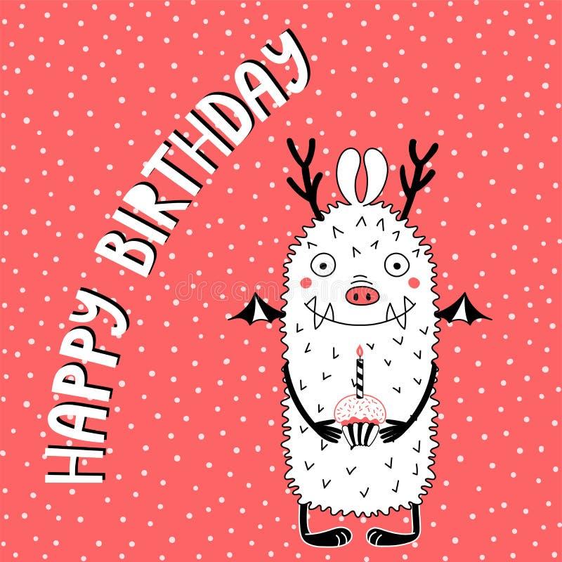 Carte d'anniversaire avec le monstre drôle mignon illustration stock