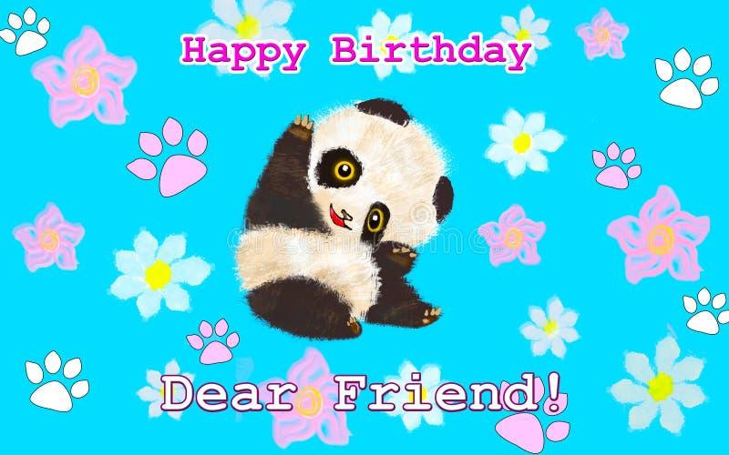 Carte d'anniversaire avec le panda animal image stock