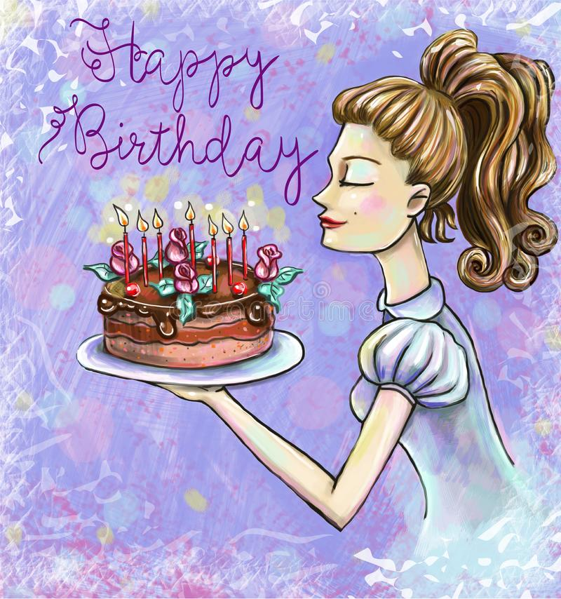 Carte d'anniversaire avec une fille soufflant l'illustration de bougies illustration stock