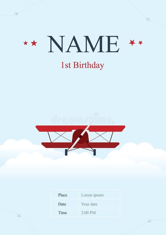 Carte d'anniversaire d'avion illustration stock