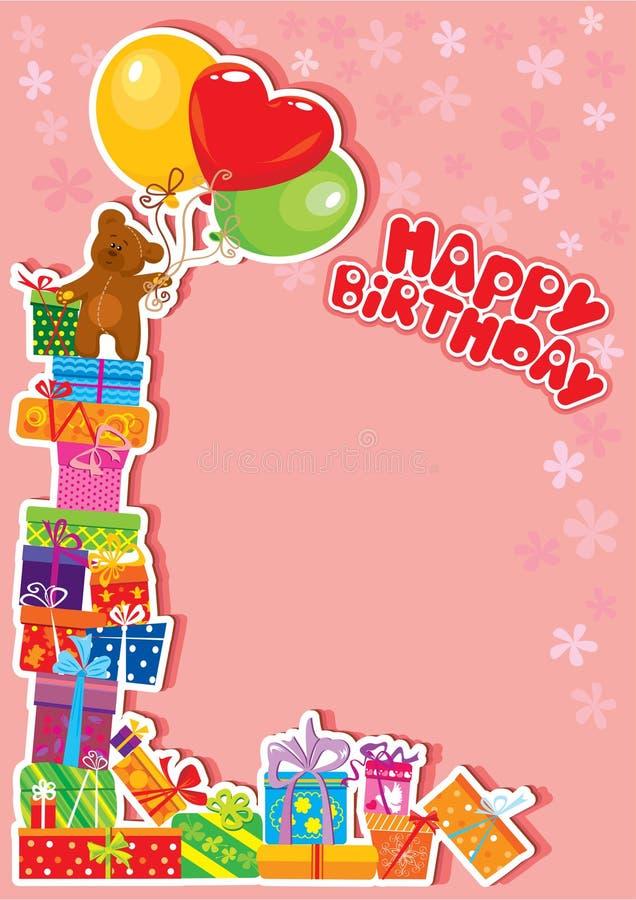 Carte d'anniversaire de chéri avec l'ours de nounours et les cadres de cadeau illustration libre de droits