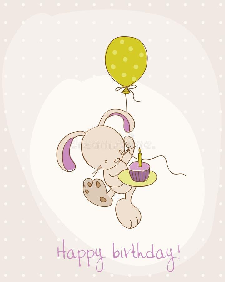 Carte d'anniversaire de salutation avec le lapin mignon illustration libre de droits